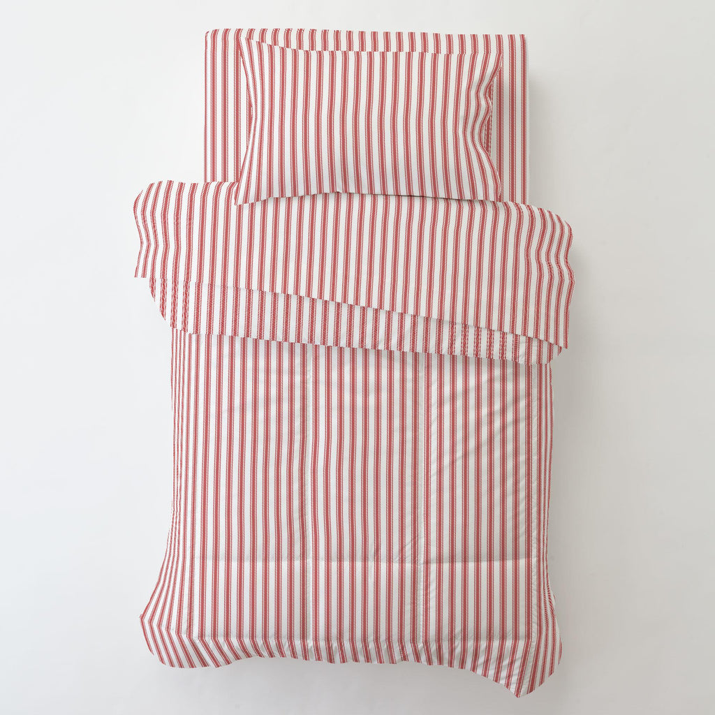 Product image for Red Ticking Stripe Toddler Pillow Case with Pillow Insert