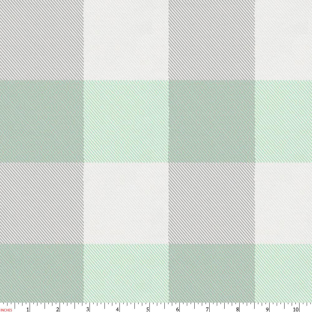 Product image for Mint and Gray Buffalo Check Fabric