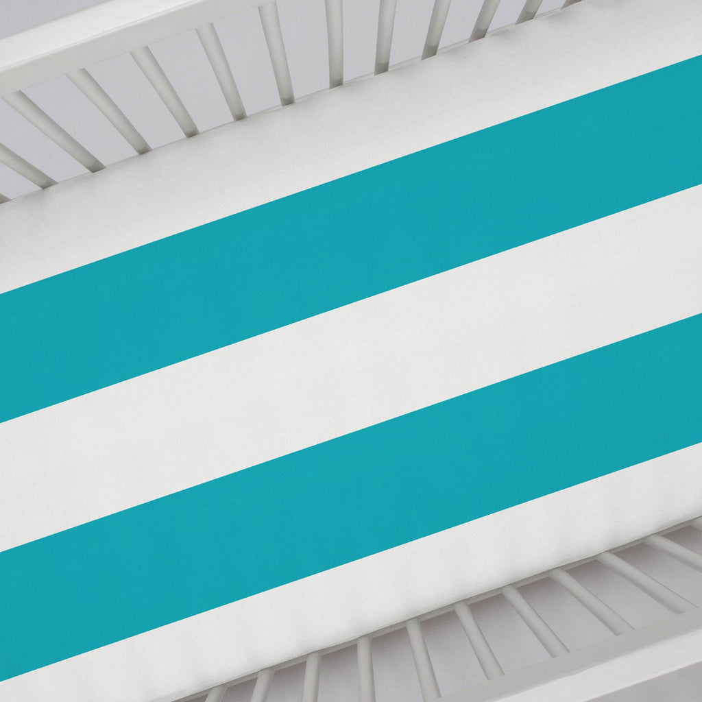 Product image for Teal Horizontal Stripe Crib Sheet
