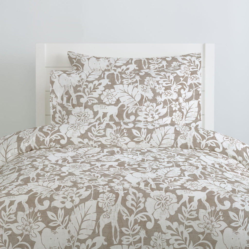 Product image for Taupe and White Jungle Pillow Case