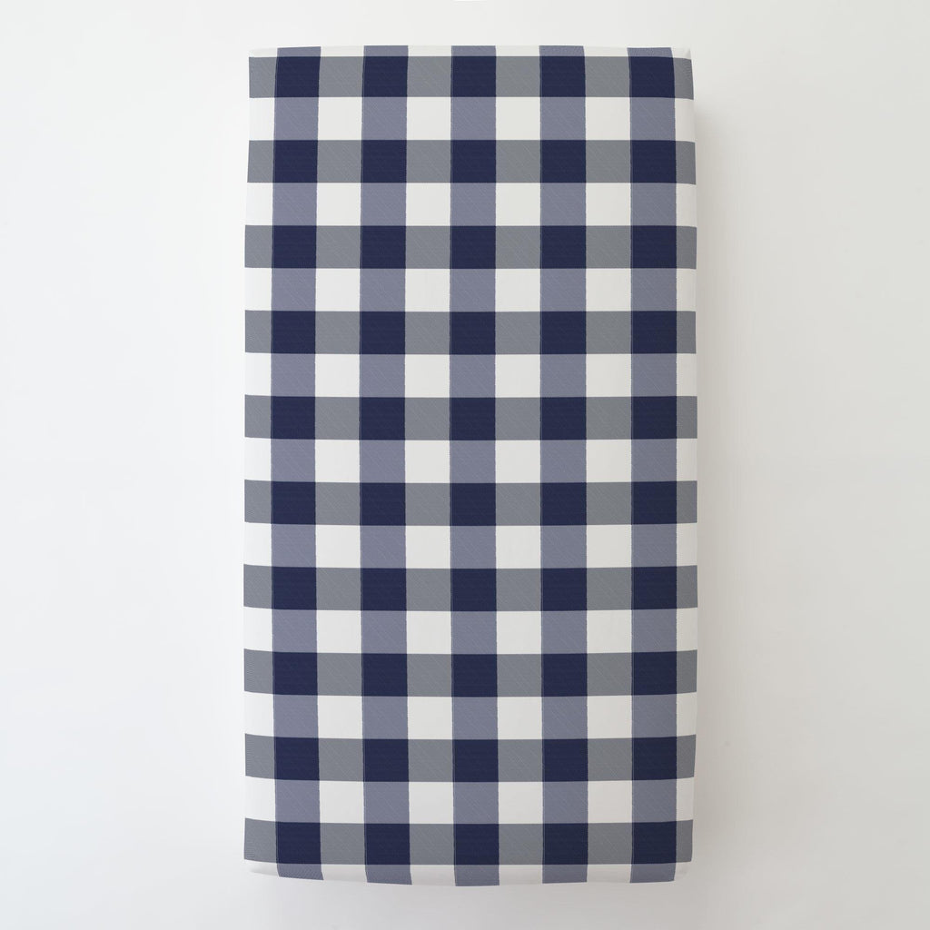 Product image for Navy and White Buffalo Check Toddler Sheet Bottom Fitted