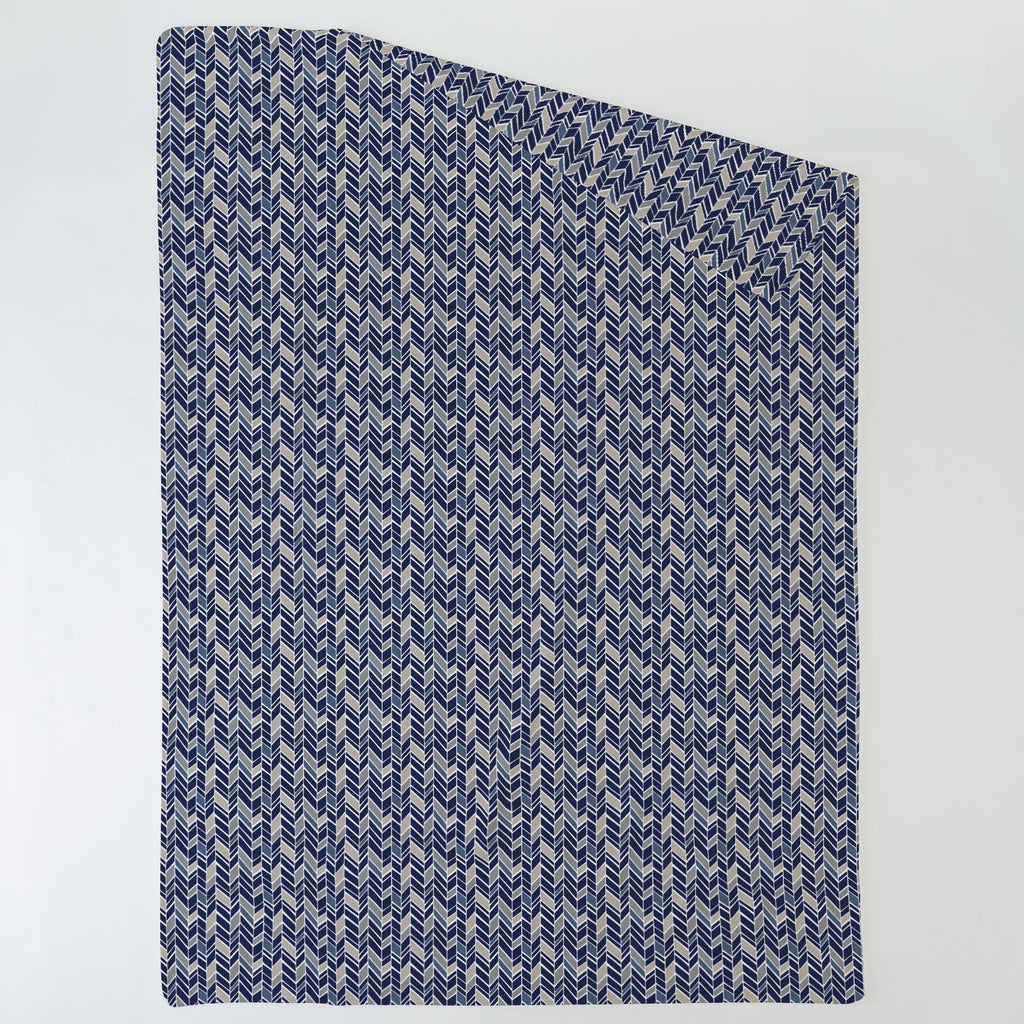 Product image for Taupe and Windsor Navy Herringbone Duvet Cover