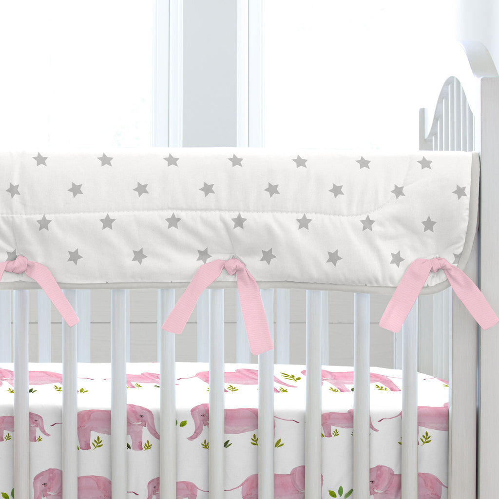 Product image for Pink Painted Elephants Crib Rail Cover