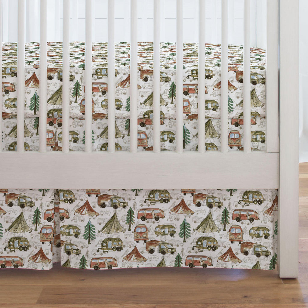 Product image for Gone Camping Crib Skirt Single-Pleat