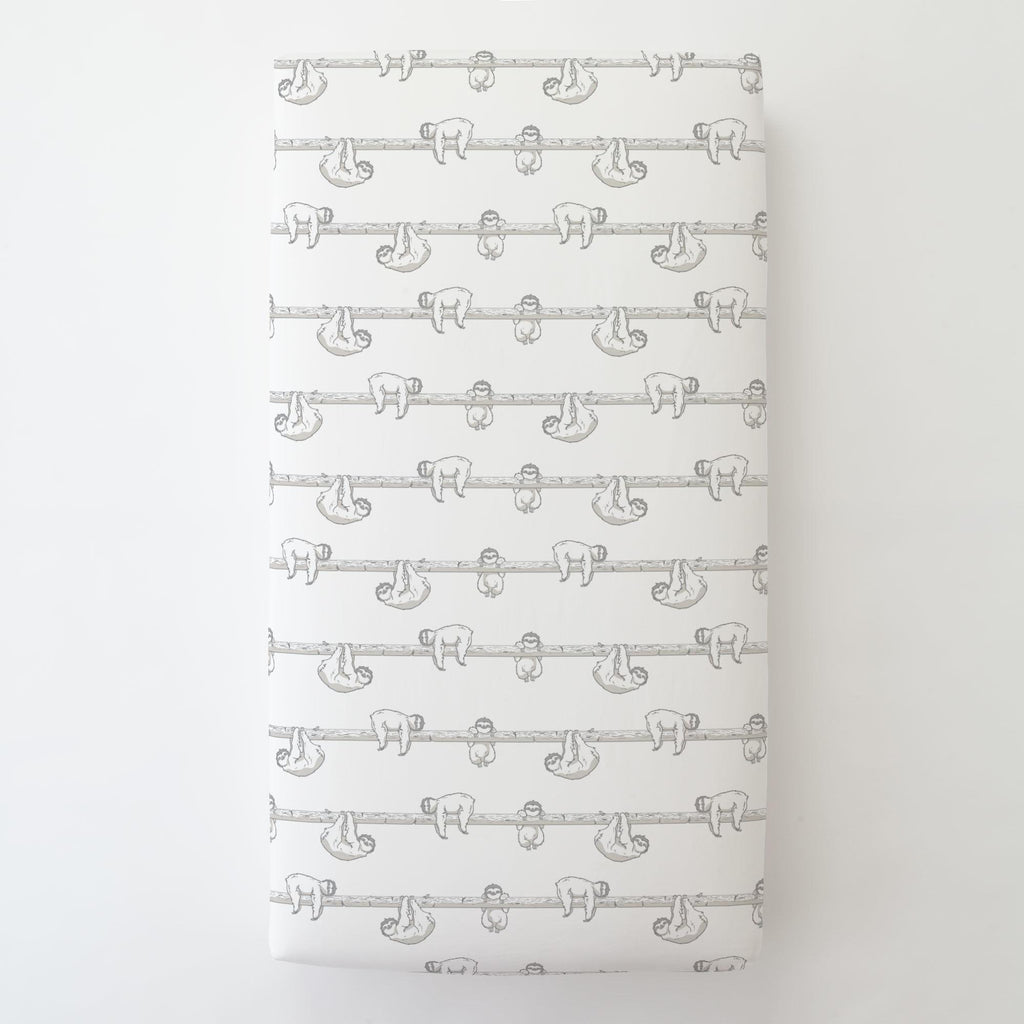 Product image for Gray Sloth Toddler Sheet Bottom Fitted
