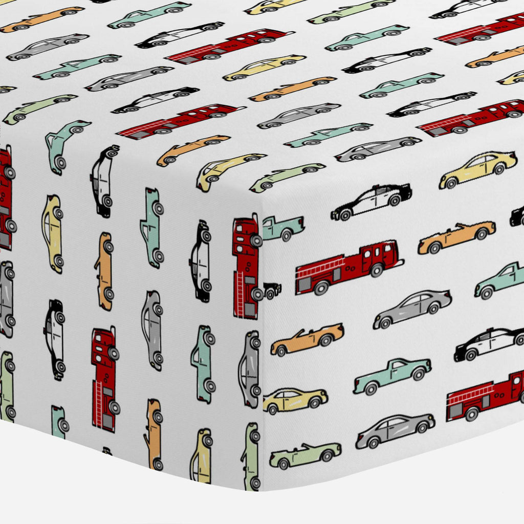 Product image for Modern Cars Mini Crib Sheet
