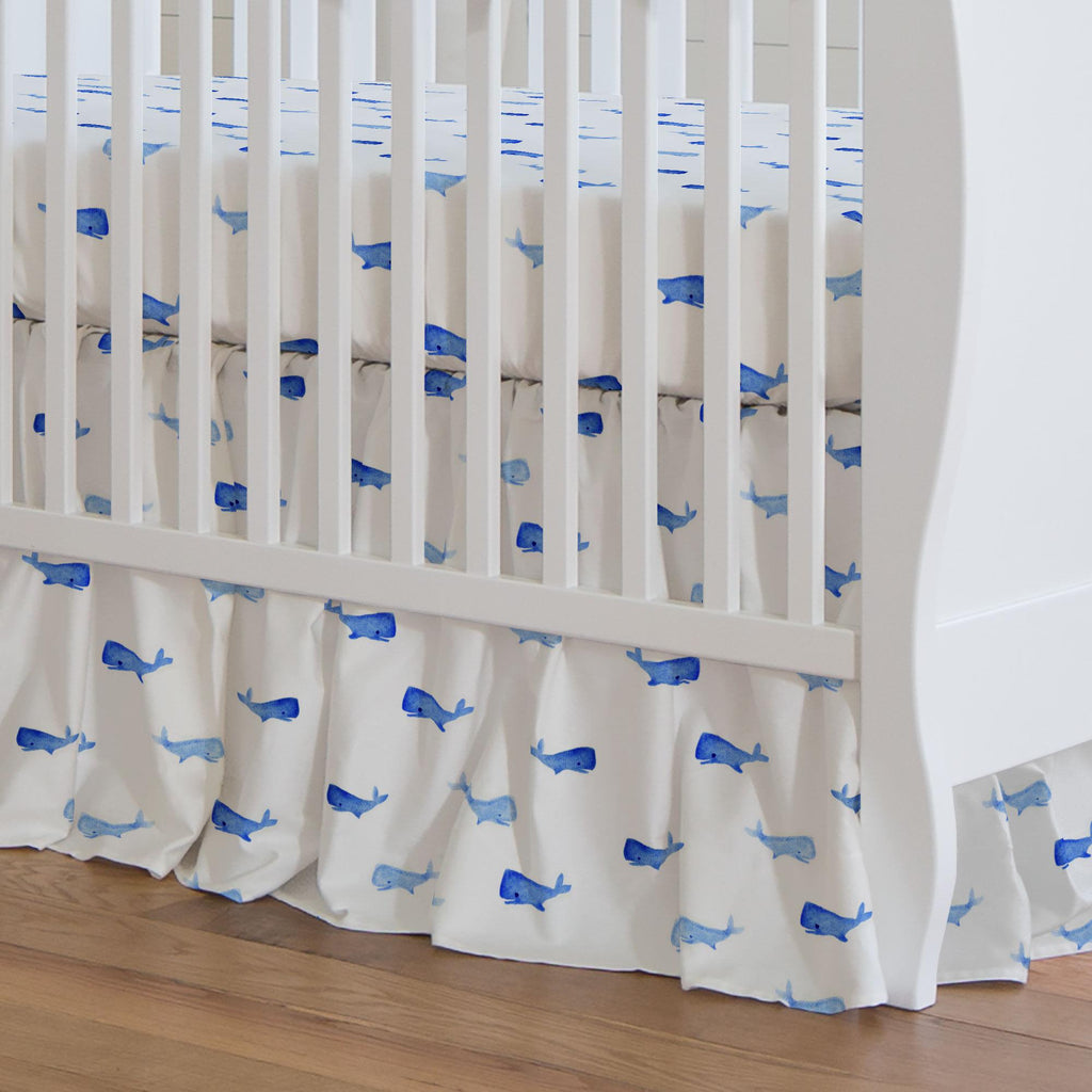 Product image for Whale of a Tale Crib Skirt Gathered