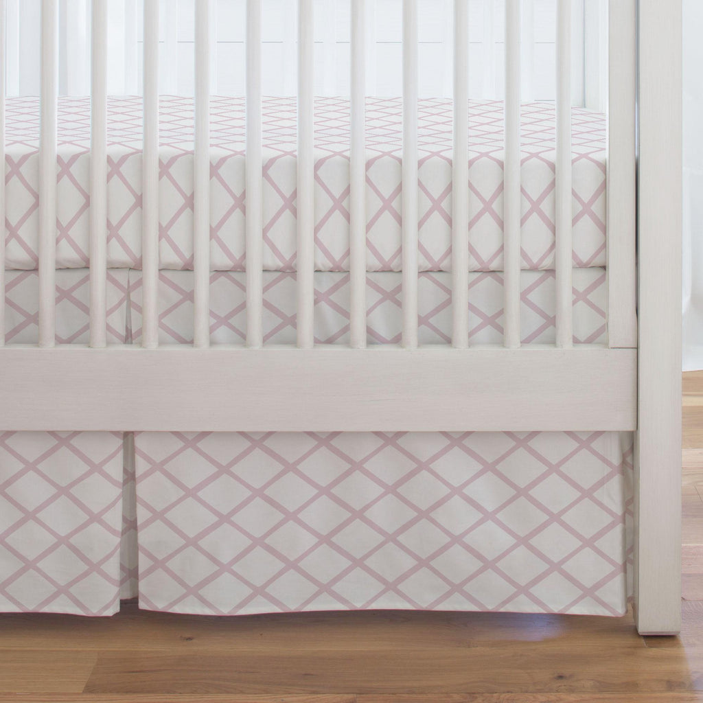 Product image for Pink Trellis Crib Skirt Single-Pleat