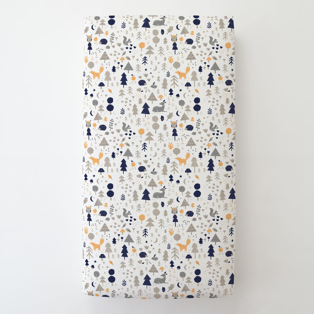 Product image for Taupe and Windsor Navy Baby Woodland Toddler Sheet Bottom Fitted