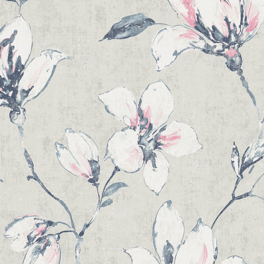 Product image for Pink and Blue Painted Lilies Drape Panel