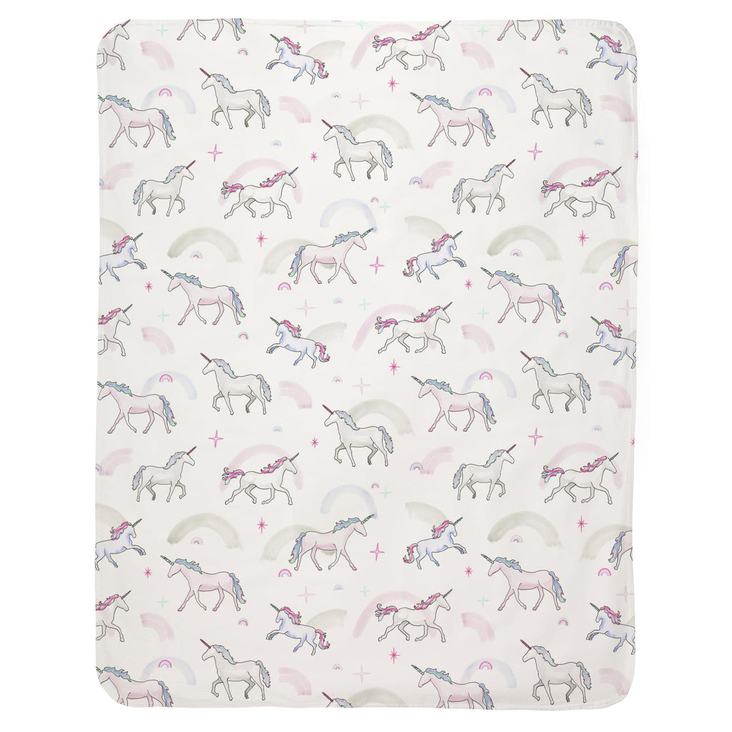 Product image for Watercolor Unicorns Baby Blanket
