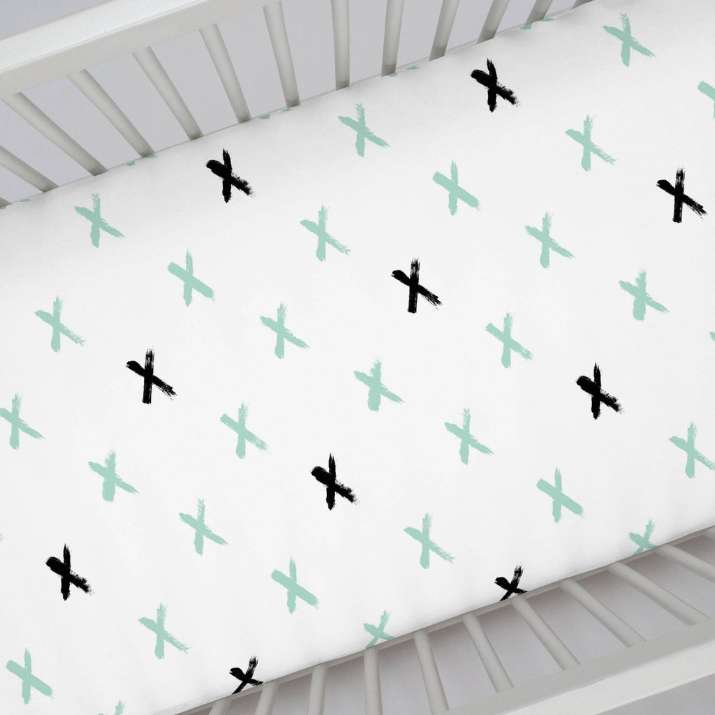 Product image for Mint and Onyx Brush X Crib Sheet