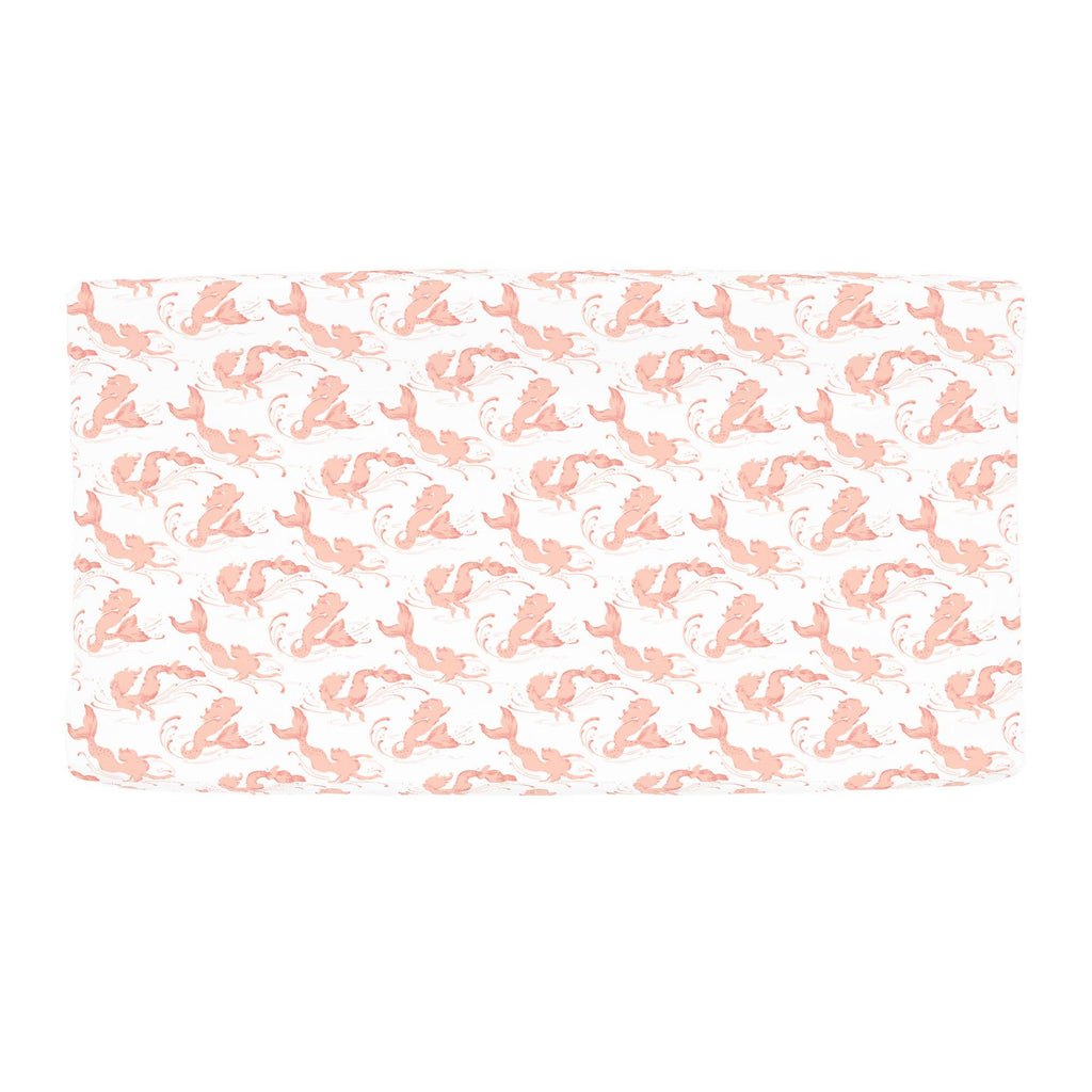 Product image for Peach Swimming Mermaids Changing Pad Cover