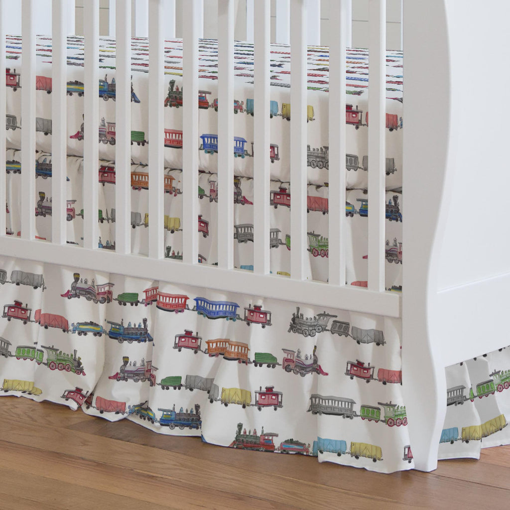 Product image for Watercolor Trains Crib Skirt Gathered
