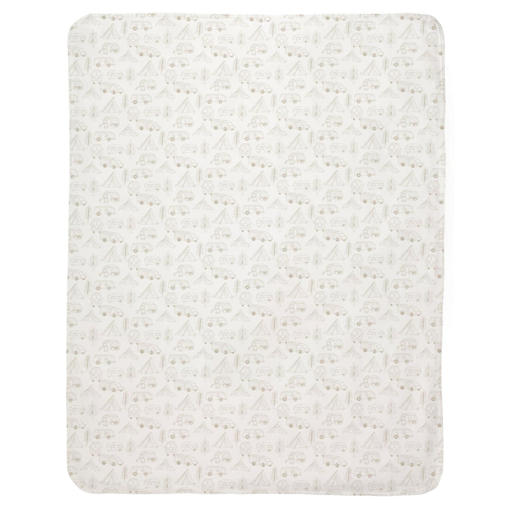 Product image for Taupe Little Campers Baby Blanket