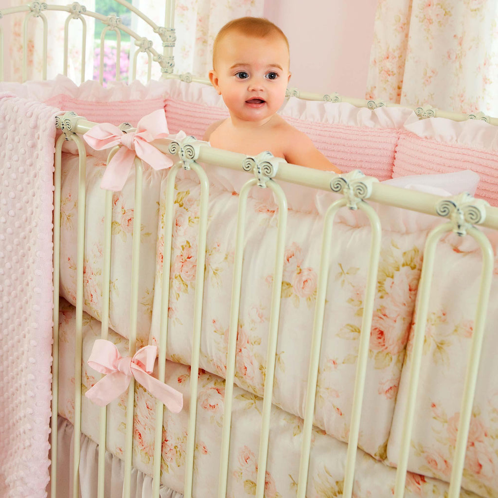 Product image for Pink Floral Crib Bumper
