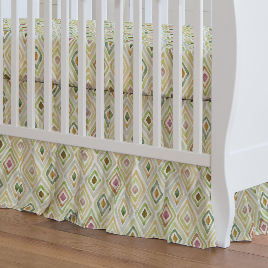 Product image for Green Painted Diamond Crib Skirt Gathered