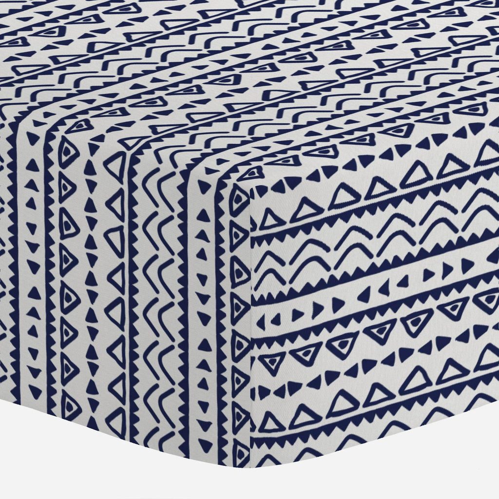 Product image for Windsor Navy Baby Aztec Mini Crib Sheet