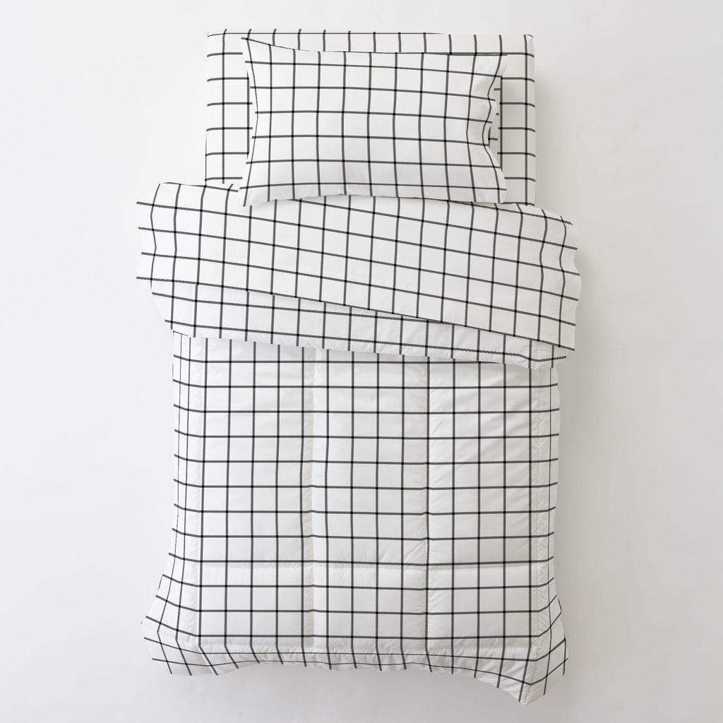 Product image for Onyx Windowpane Toddler Pillow Case with Pillow Insert