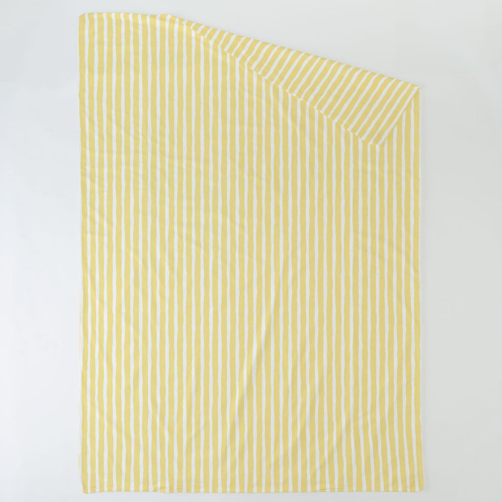 Product image for Banana Yellow Weathered Stripe Duvet Cover