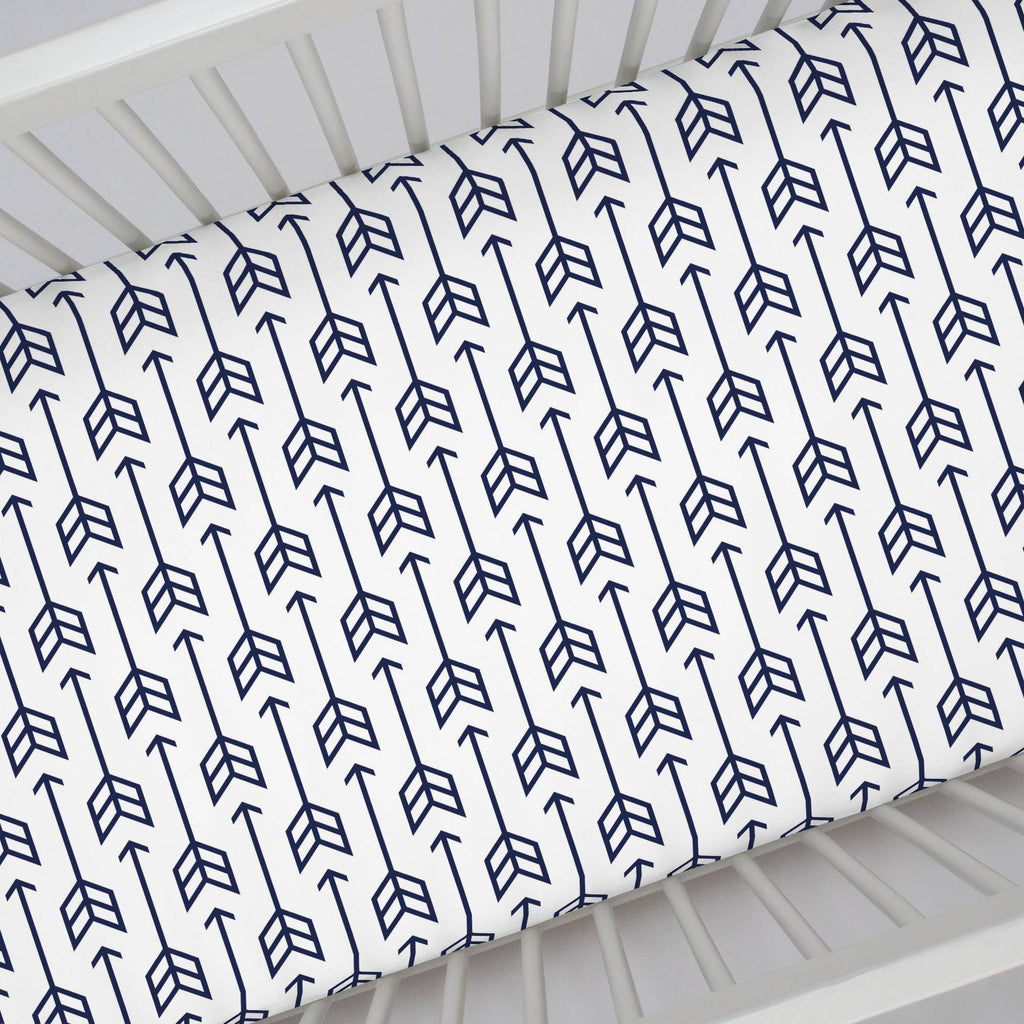 Product image for Navy Arrow Crib Sheet