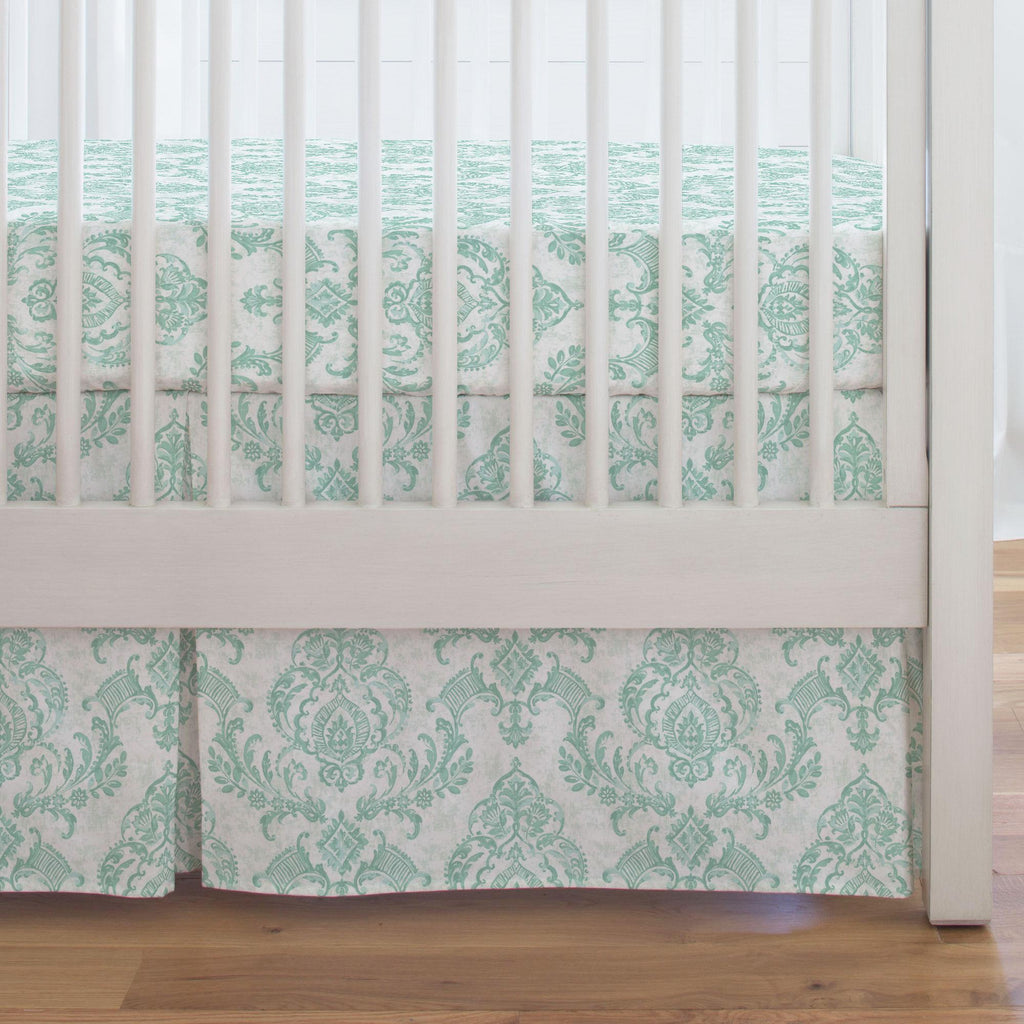Product image for Mint Painted Damask Crib Skirt Single-Pleat
