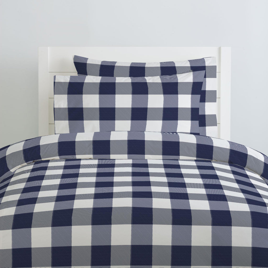 Product image for Navy and White Buffalo Check Pillow Case