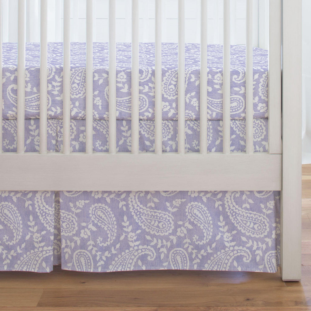 Product image for Lilac Paisley Crib Skirt Single-Pleat