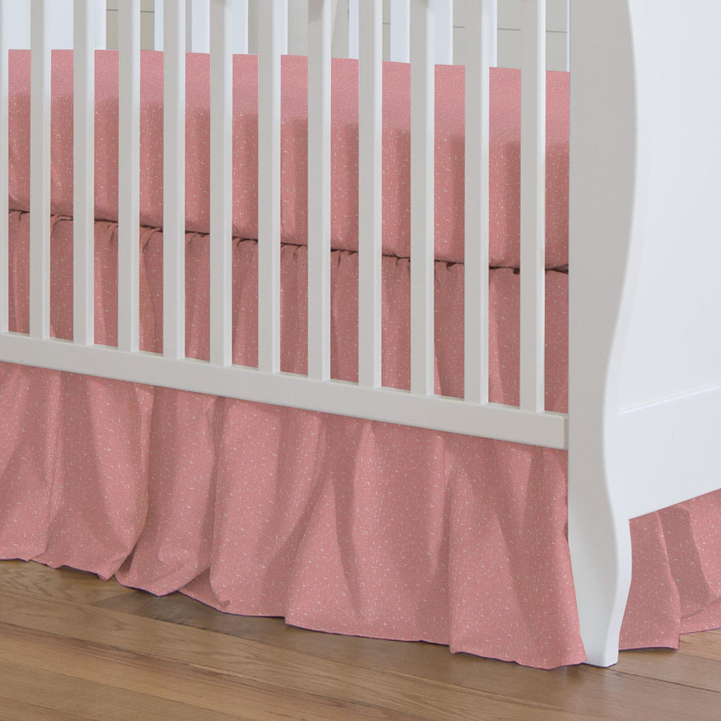 Product image for Coral Pink Heather Crib Skirt Gathered