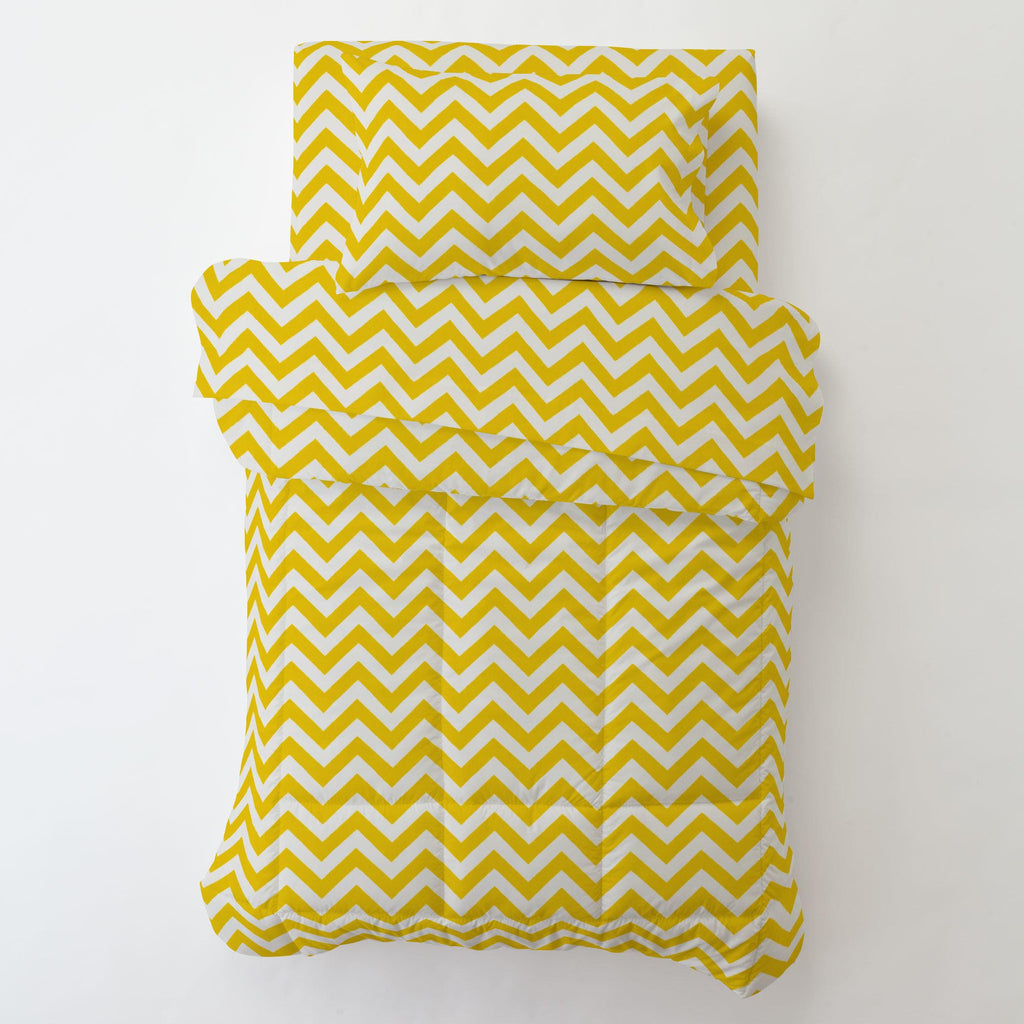 Product image for Yellow Zig Zag Toddler Pillow Case with Pillow Insert