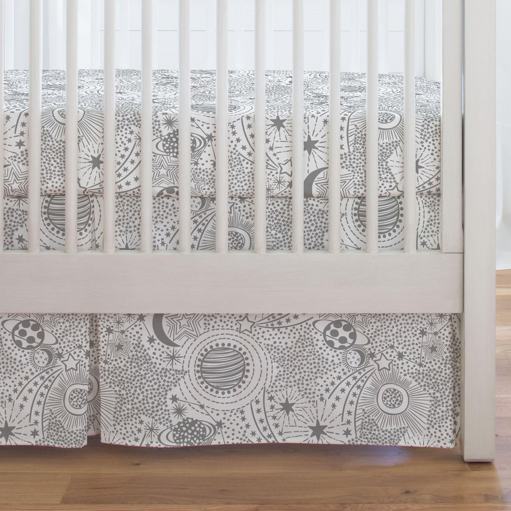 Product image for Cloud Gray Galaxy Crib Skirt Single-Pleat