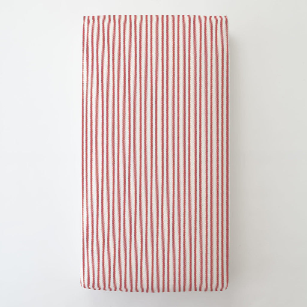 Product image for Red Ticking Stripe Toddler Sheet Bottom Fitted
