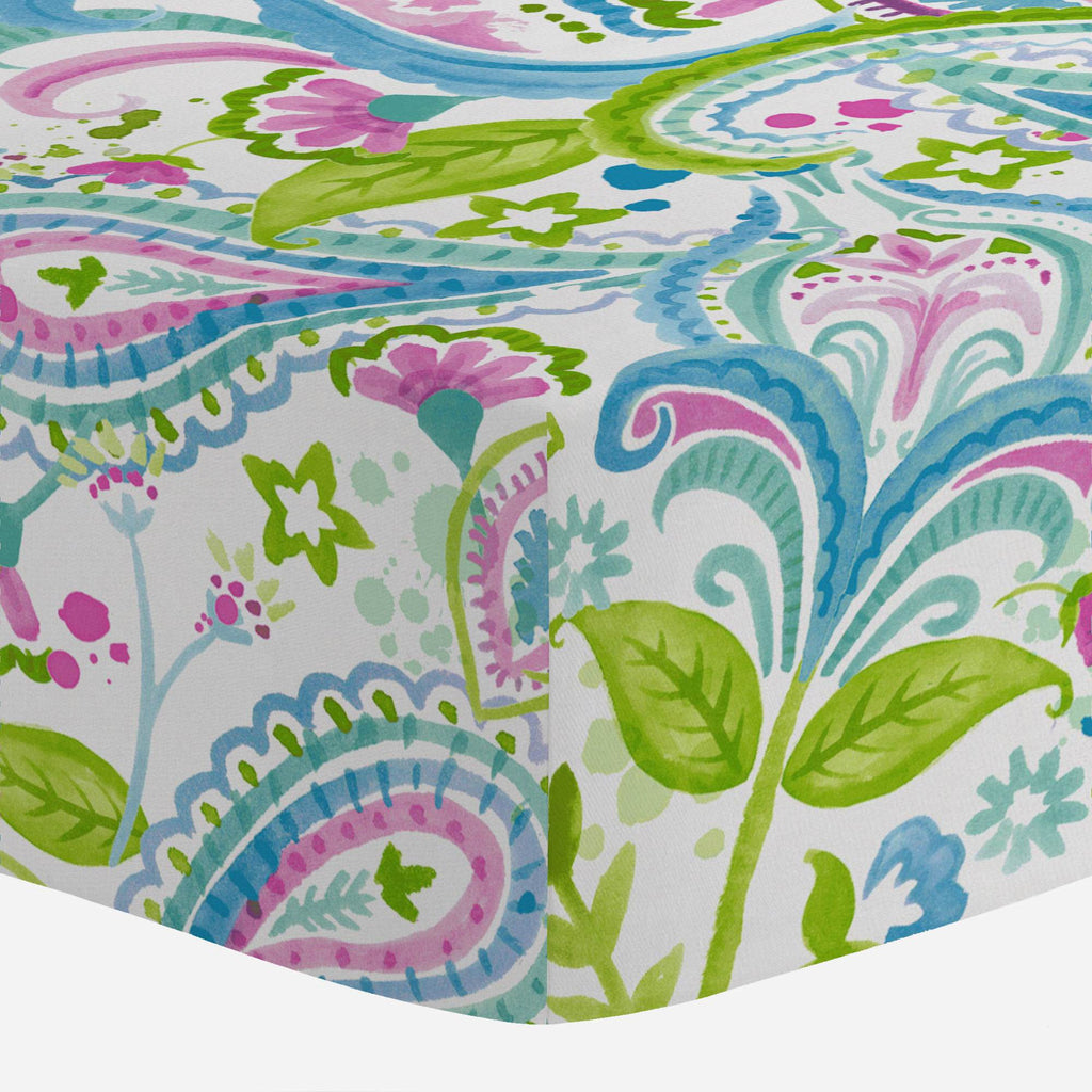 Product image for Orchid Painted Paisley Mini Crib Sheet