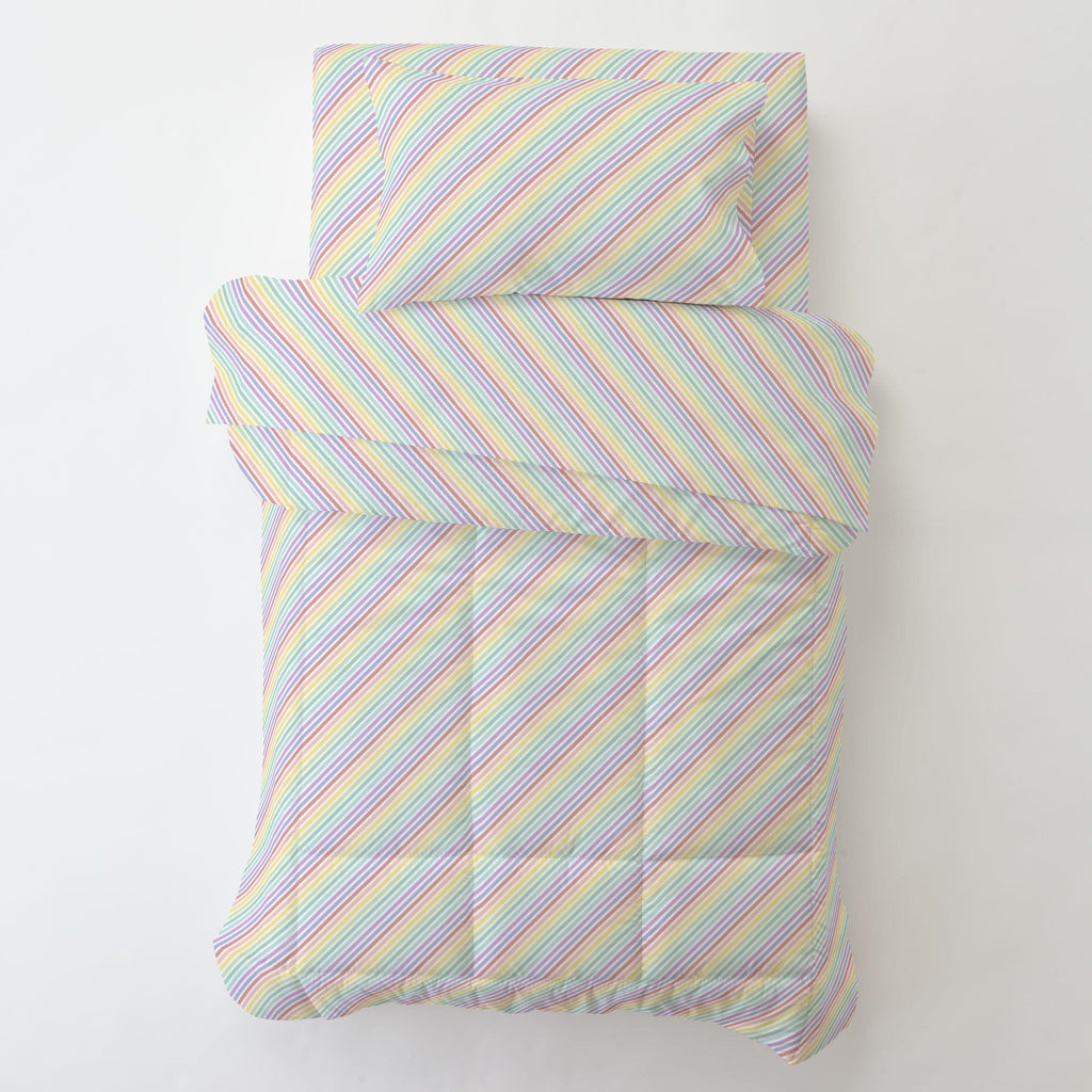 Product image for Pastel Rainbow Stripe Toddler Comforter