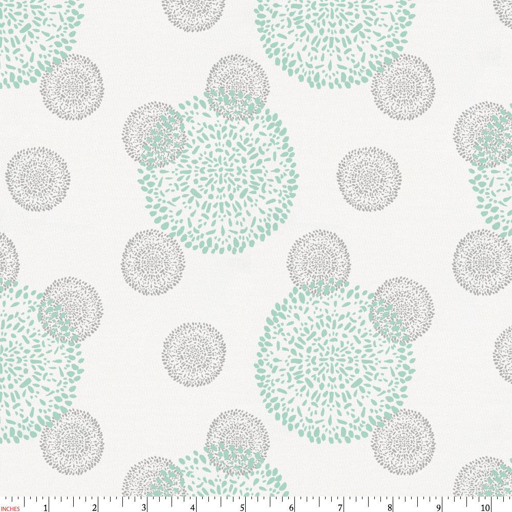 Product image for Mint and Silver Gray Dandelion Fabric
