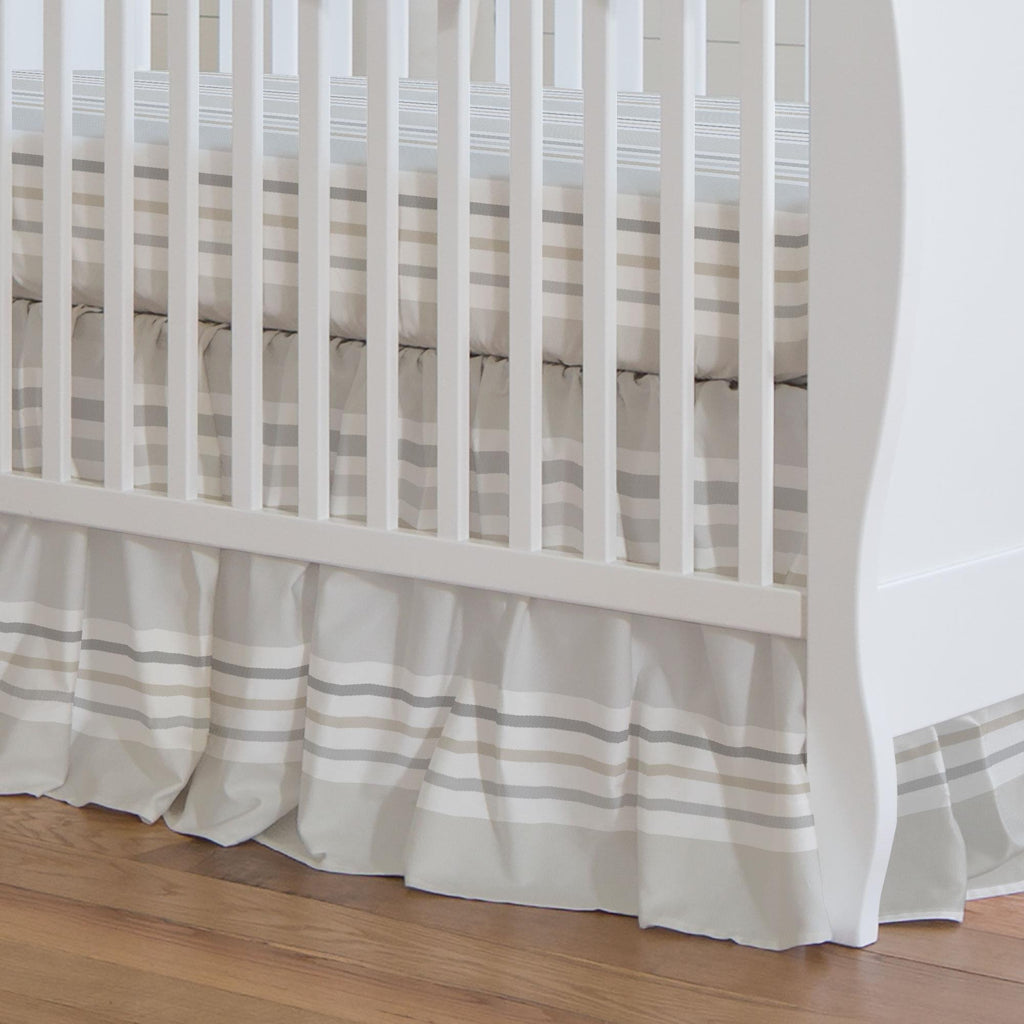 Product image for French Gray and Taupe Summer Stripe Crib Skirt Gathered