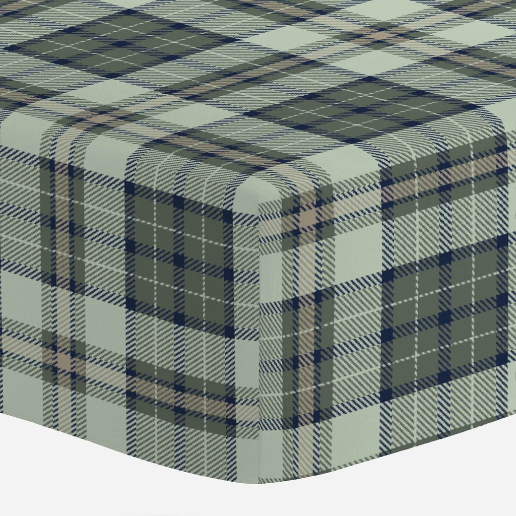 Product image for Navy and Seafoam Plaid Mini Crib Sheet