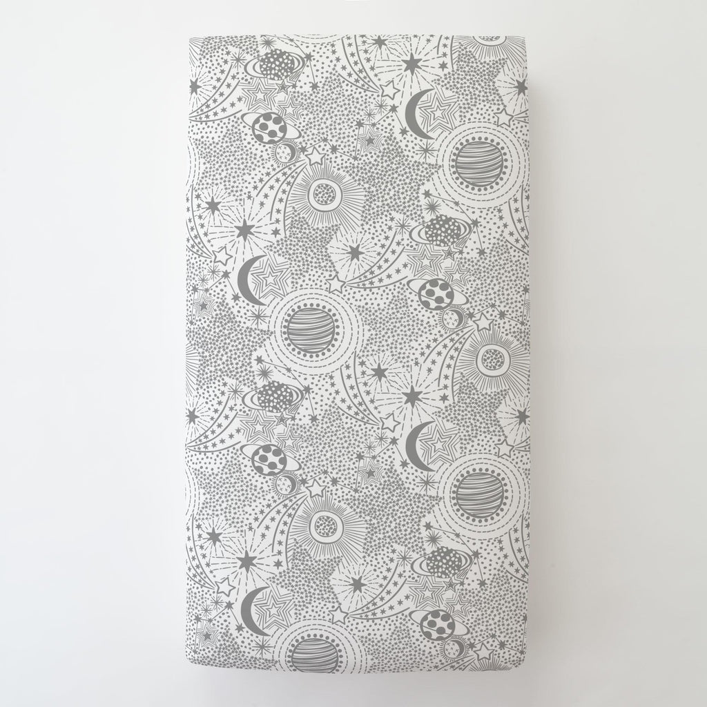 Product image for Cloud Gray Galaxy Toddler Sheet Bottom Fitted