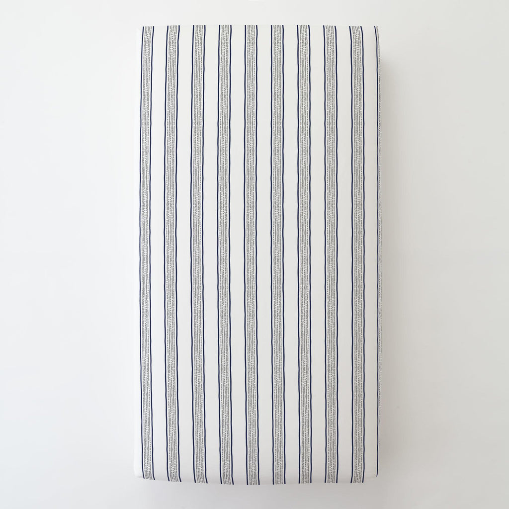 Product image for Navy and Gray Beach Stripe Toddler Sheet Bottom Fitted