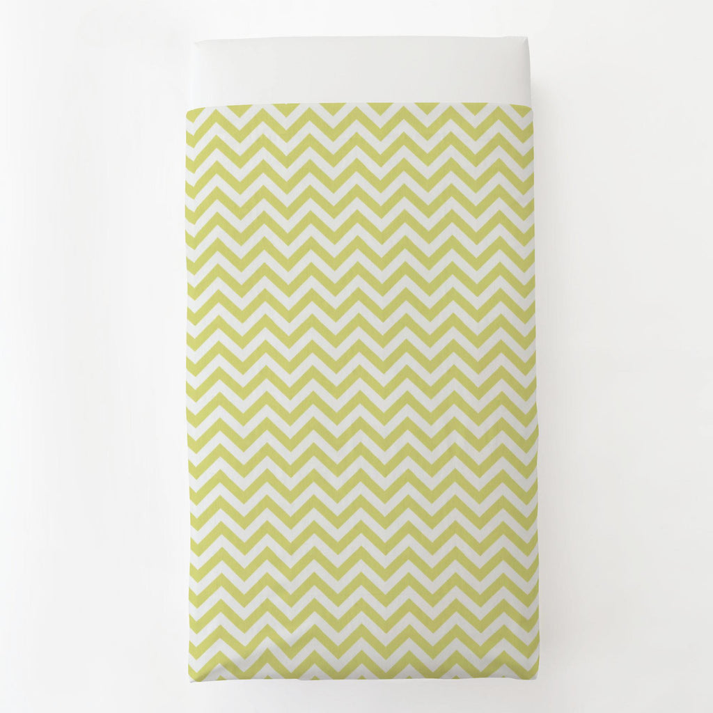 Product image for Light Lime Zig Zag Toddler Sheet Top Flat