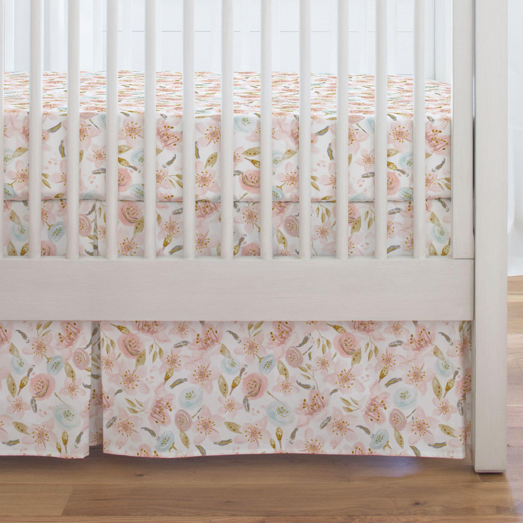 Product image for Pink Hawaiian Floral Crib Skirt Single-Pleat