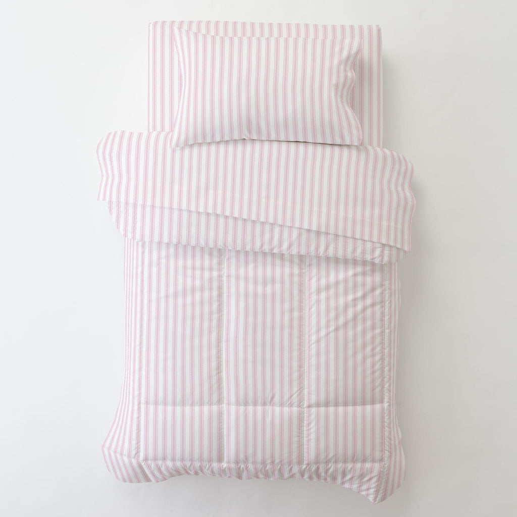 Product image for Bubblegum Pink Ticking Stripe Toddler Comforter