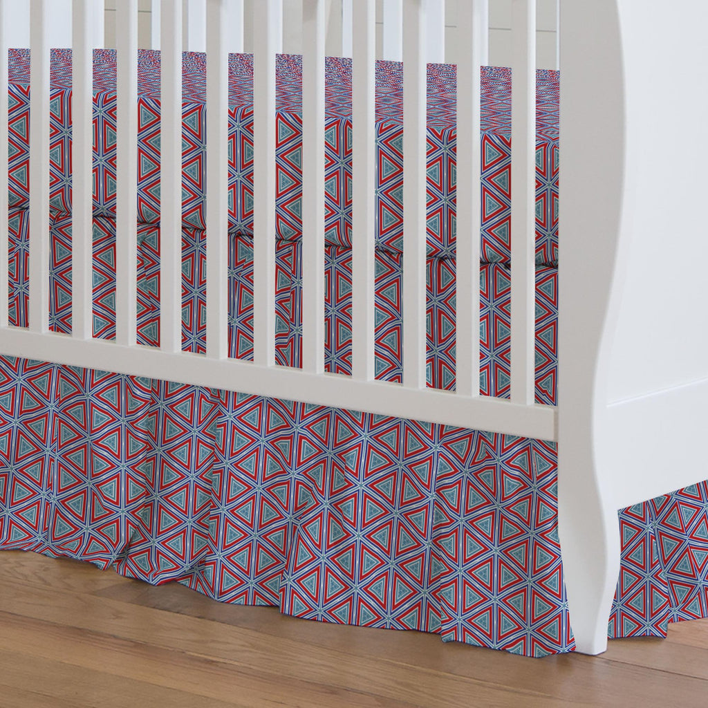 Product image for Red Nautical Triangles Crib Skirt Gathered