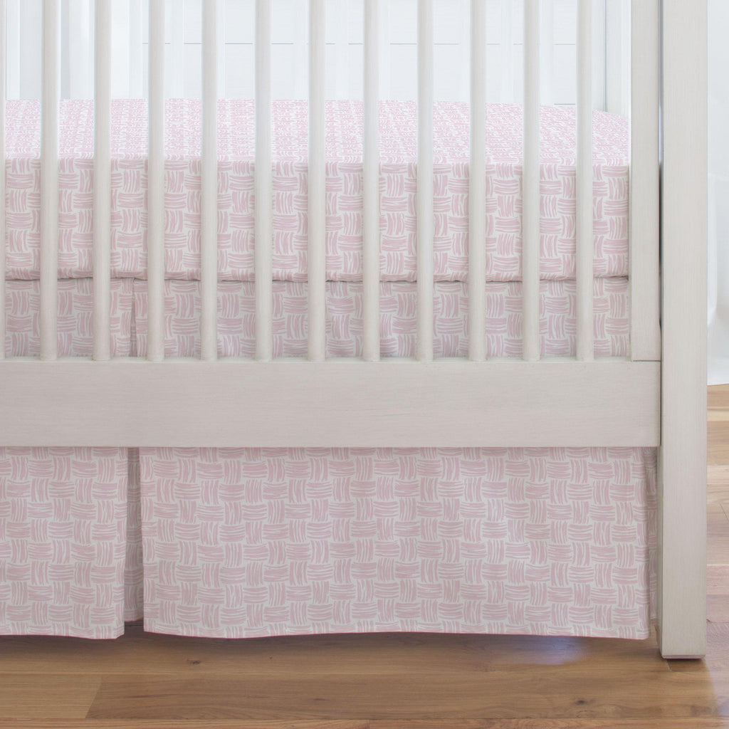 Product image for Pink Basket Weave Crib Skirt Single-Pleat