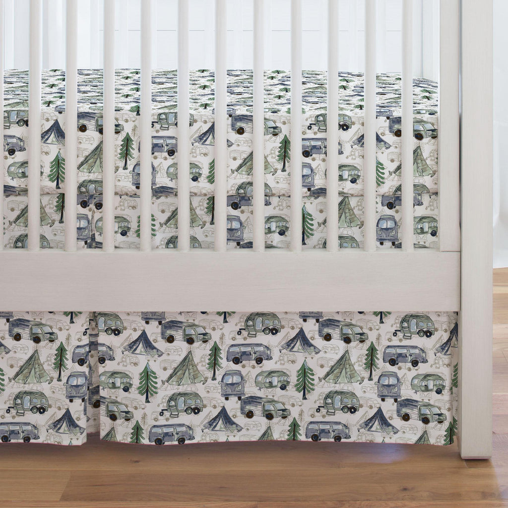 Product image for Navy and Seafoam Gone Camping Crib Skirt Single-Pleat