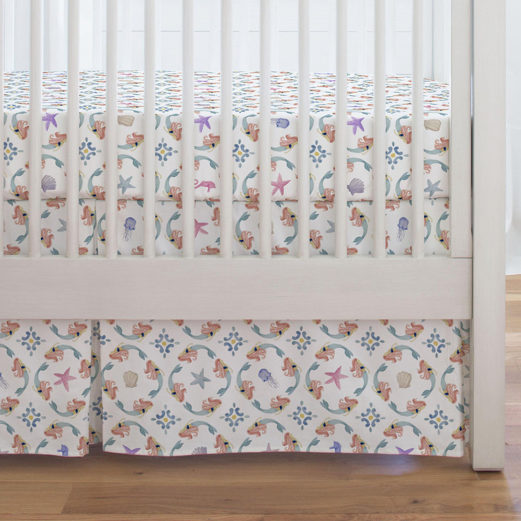 Product image for Mermaid Medallion Crib Skirt Single-Pleat