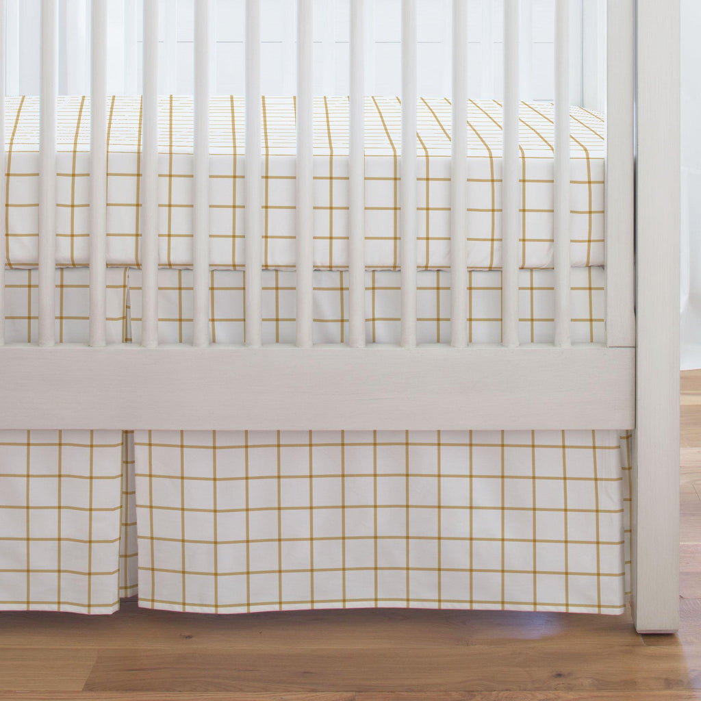 Product image for Mustard Windowpane Crib Skirt Single-Pleat