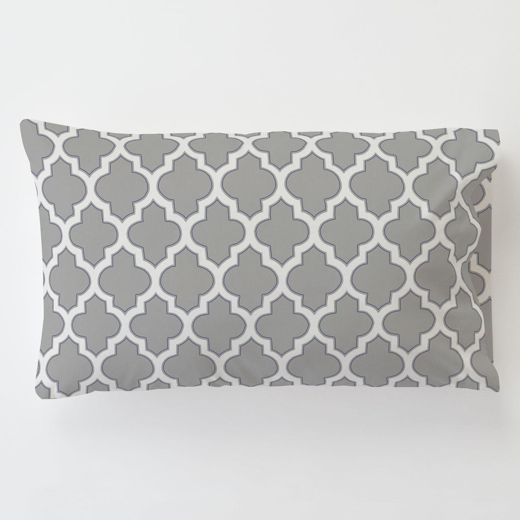 Product image for Silver Gray and Navy Hand Drawn Quatrefoil Toddler Pillow Case