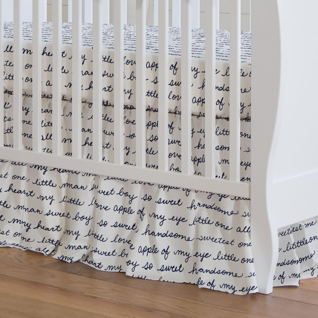Product image for Navy Sweet Boy Crib Skirt Gathered