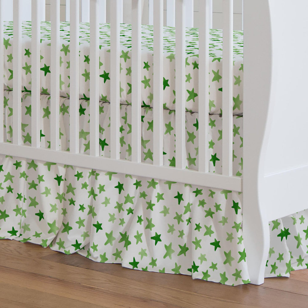 Product image for Green Watercolor Stars Crib Skirt Gathered